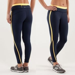 Lululemon Run: Pace Tights Leggings Blue Yellow 6